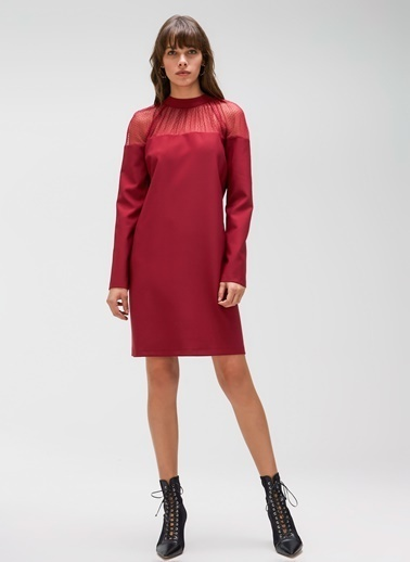 People By Fabrika Tül Detaylı Elbise Bordo